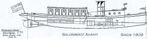 Bouwtekening Salonboot Avanti in 1909