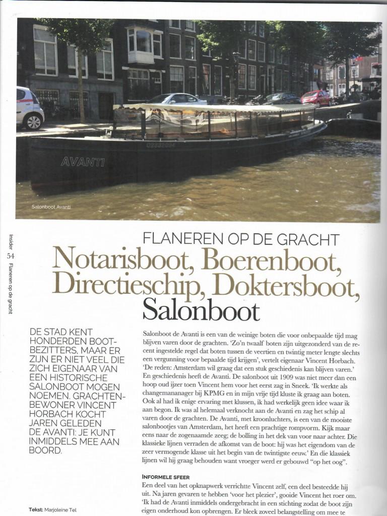Artikel Insider Media Salonboot Avanti rondvaart Amsterdam