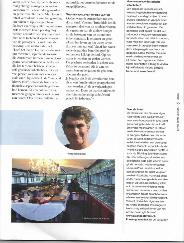 Insider Media Artikel Salonboot Avanti Rondvaart Amsterdam